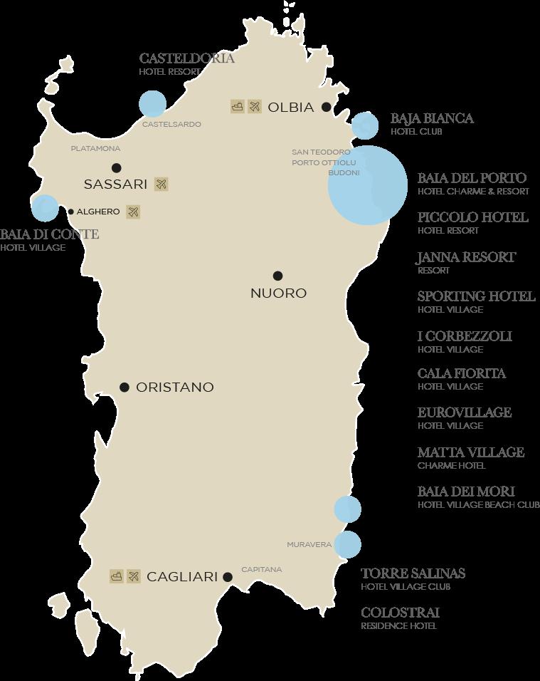 Cartina Sardegna Con Hotel.Hotel Resort Studio Vacanze Group Gestioni Turistiche In Sardegna